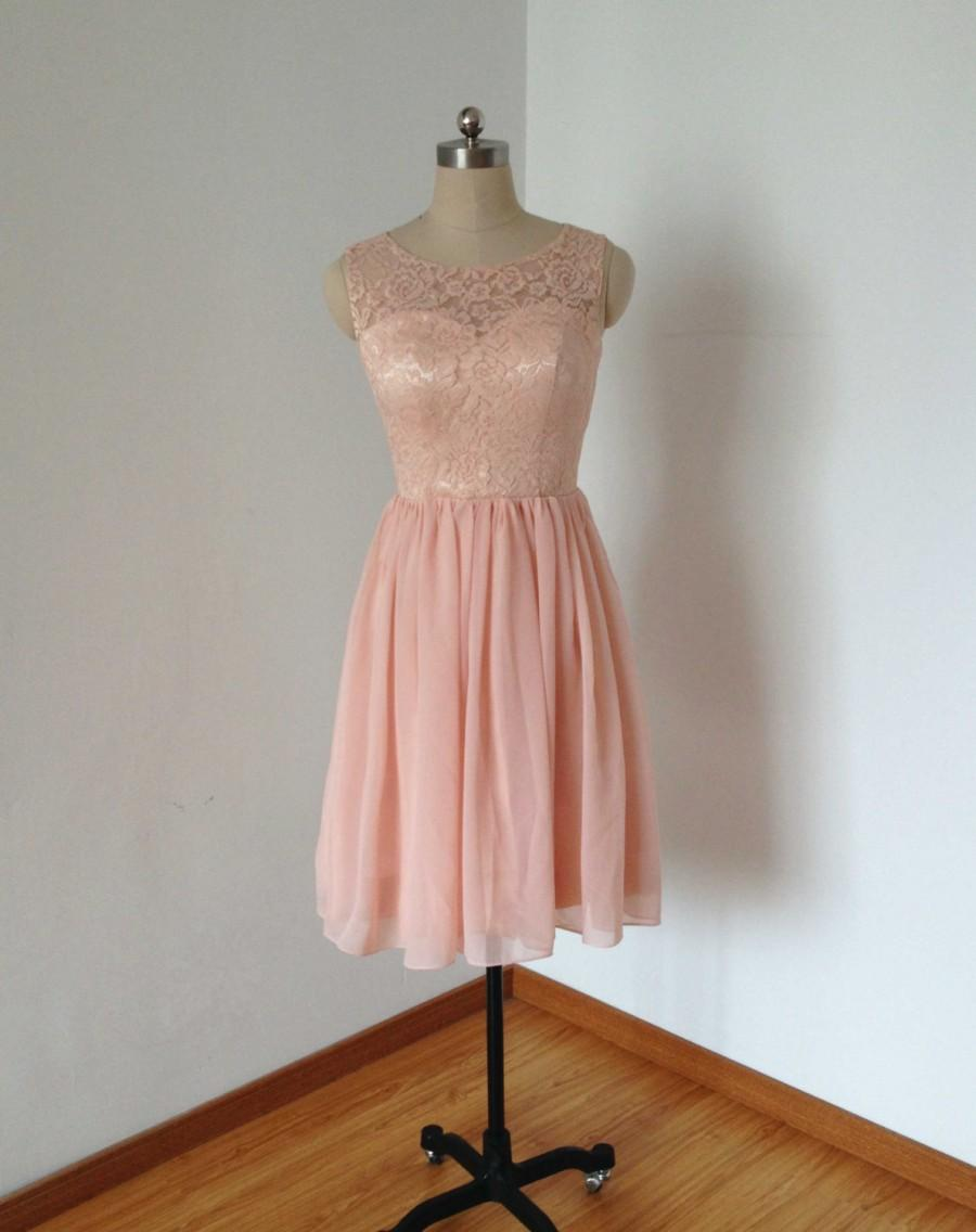 Hochzeit - Round Neckline Pearl Pink Lace Chiffon Short Bridesmaid Dress