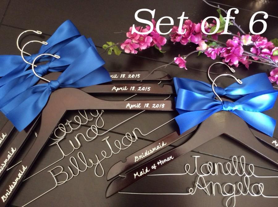 Mariage - Set of 6--Personalized Hanger,  Custom Bridal Hangers,Bridesmaids gift, Wedding hangers with names,Custom made hangers