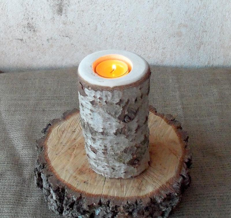Wood candle holder table centerpiece log