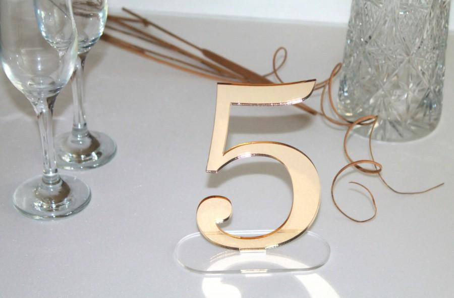 "Свадьба - Gold Wedding Table Number, Wedding Reception, Laser Cut Acrylic Table Numbers, Wedding Decor, Party Decor, Gold Birthday Decor, 6.0"" tall"
