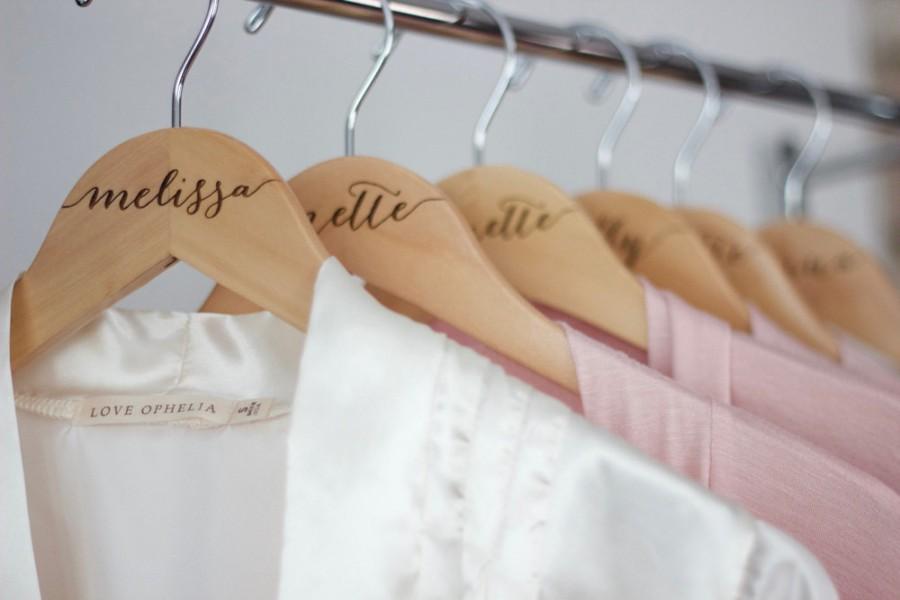 Wedding - 7 Personalized Bridesmaid Hangers - Engraved Wood