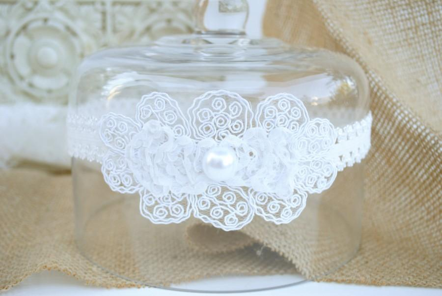 Wedding - Wedding Garter, Bridal Garter, White Lace Garter, Keepsake Garter, Baby baptism, Christening, Wedding headband, rustic, vintage, country