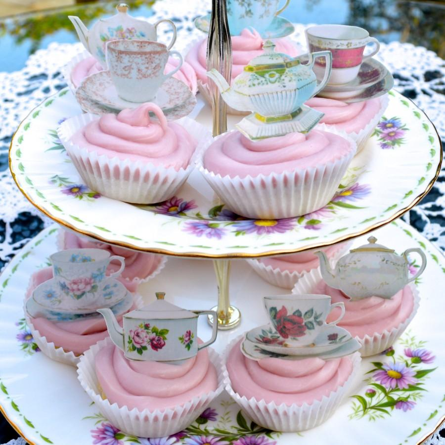 Mad hatter tea party decoration ideas - Edible Teapots Teacup X 360 Wafers Rice Paper Wedding Cupcake Decorations Afternoon Tea Party Decor Alice In Wonderland Cake Toppers Cookies