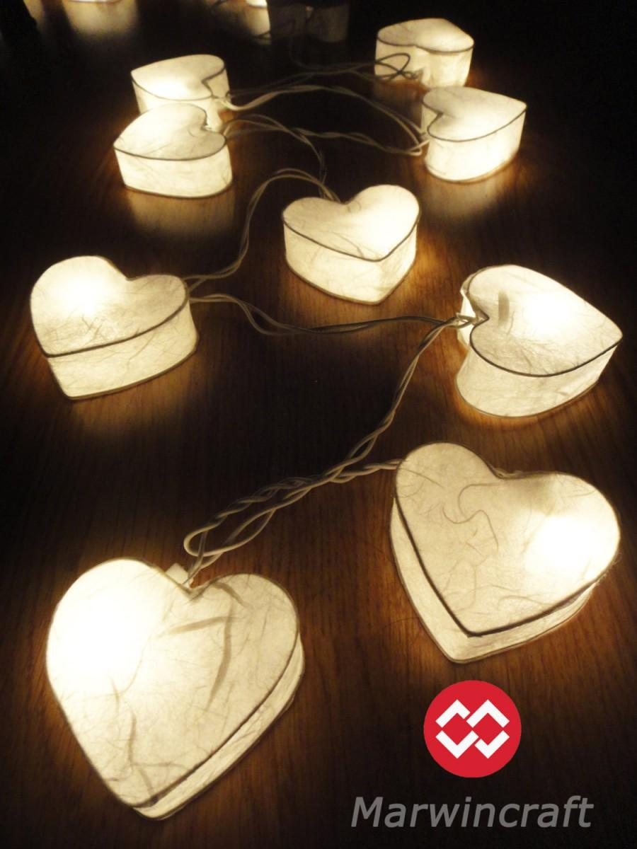 Mariage - SALE 10%Off 2 Set of 20 Romantic White Hearairy String Lights Party Patio Wedding Floor Table Hanging Gift Home Decorts LANTERN F
