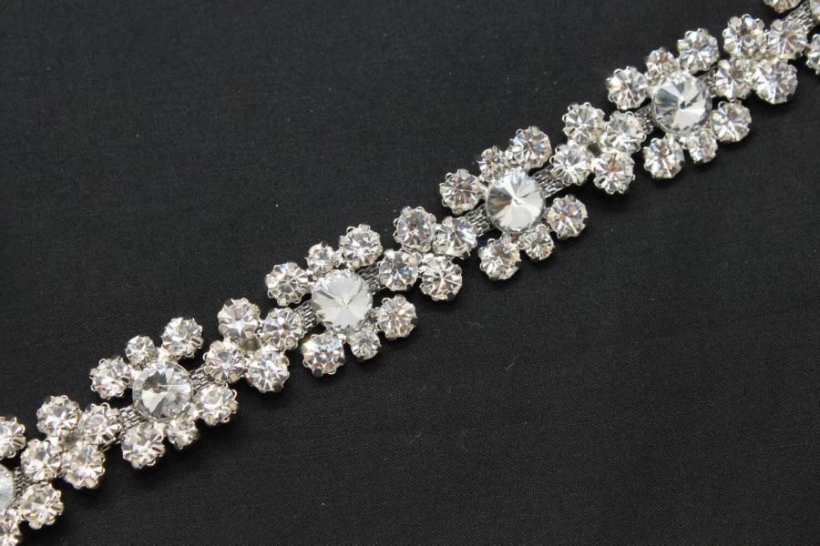 Mariage - LG-368 fashion bridal costume applique diamante rhinestone crystal silver chain trim 1y