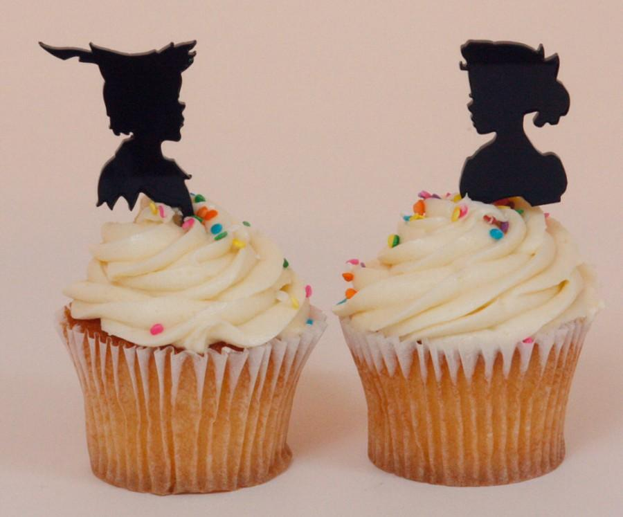 Mariage - Custom Wedding or Birthday Cupcake Topper Silhouettes Peter Pan and Wendy, Lasered ACRYLIC