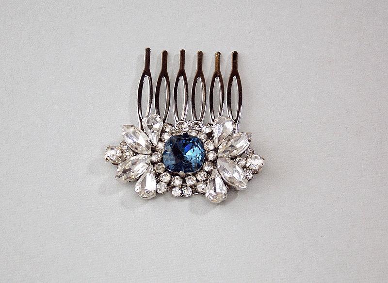Wedding - Wedding Hair Comb, Crystal Bridal Hair Piece, Rhinestone Hair Comb, Something Blue, Wedding Hair Accessory, Vintage Hair Piece - BIANCA