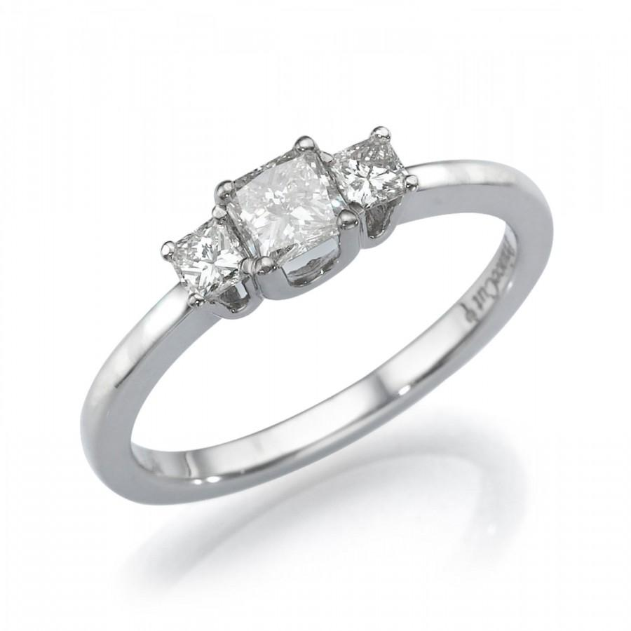 Wedding - Princess Cut Diamond Engagement Ring, Three Stone Ring, 18K White Gold Ring, 0.5 CT Diamond Ring, 3 Stone Ring