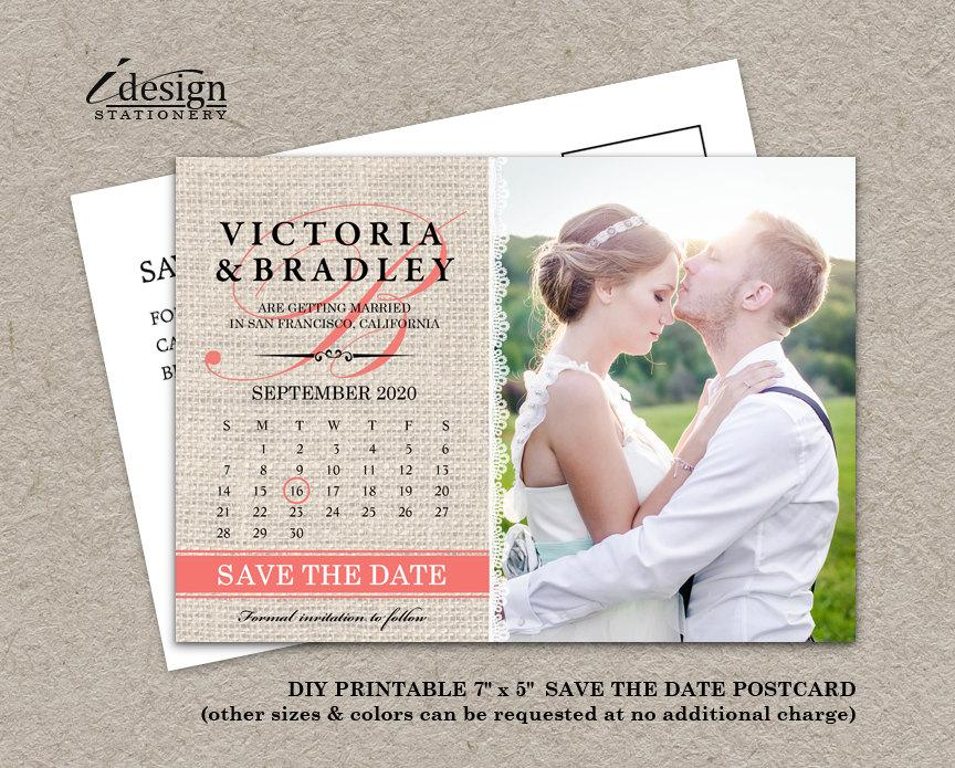 Calendar Wedding Photo Save The Date Postcard, Diy Printable