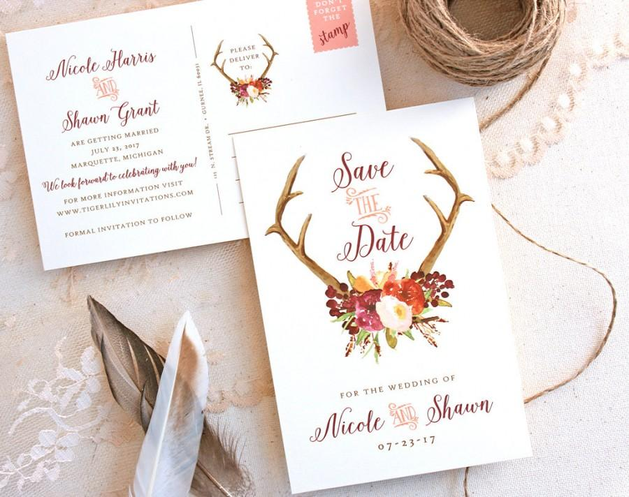 Antler Save The Date Postcard With Burgundy Peach And Eggplant Fl Design Fall Wedding Rustic
