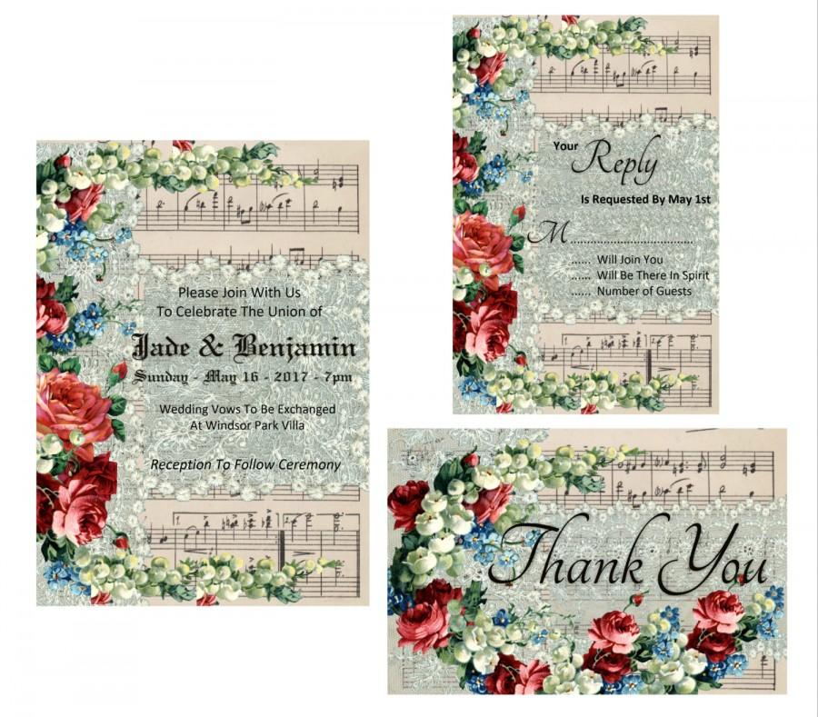 Wedding - Wedding Invitation Printable Suite - Music Score Vintage Paper with Vintage Lace And Flower Overlay - Instant Digital Download