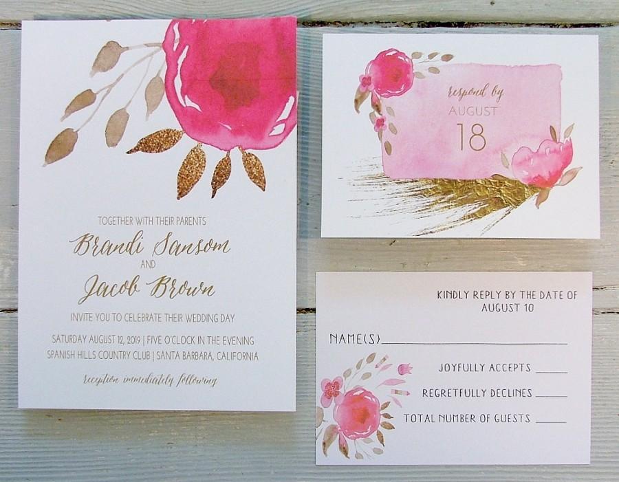 Hot Pink Wedding Invitation Bright Pink Pink Gold Modern