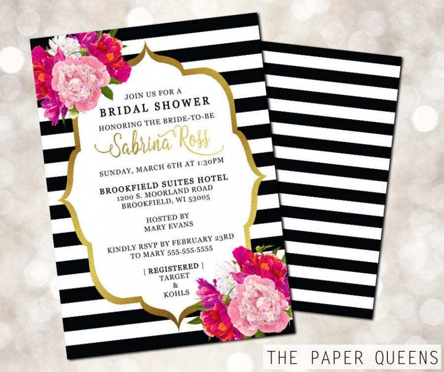 bridal shower wedding invitation printable invitation On kate spade wedding invitations