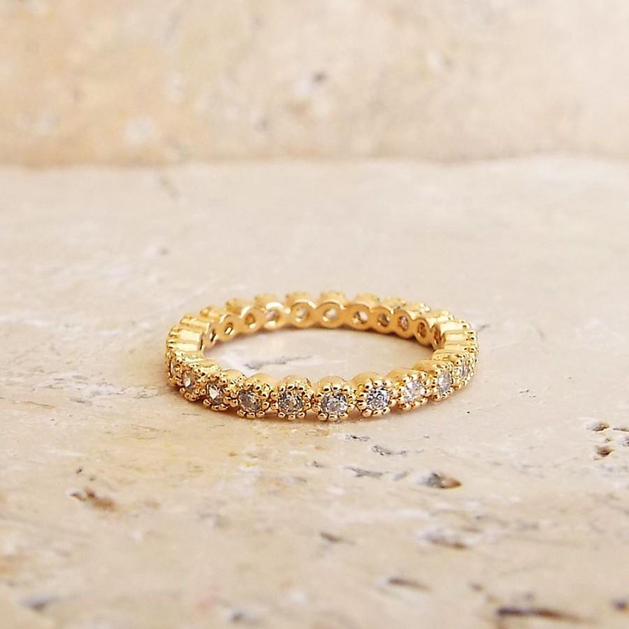 Mariage - 2 mm Full Eternity Gold Band MILGRAIN Bezel CZ Wedding Ring Promise ring Gold Eternity Band Anniversary Ring gold plated CZ diamonds