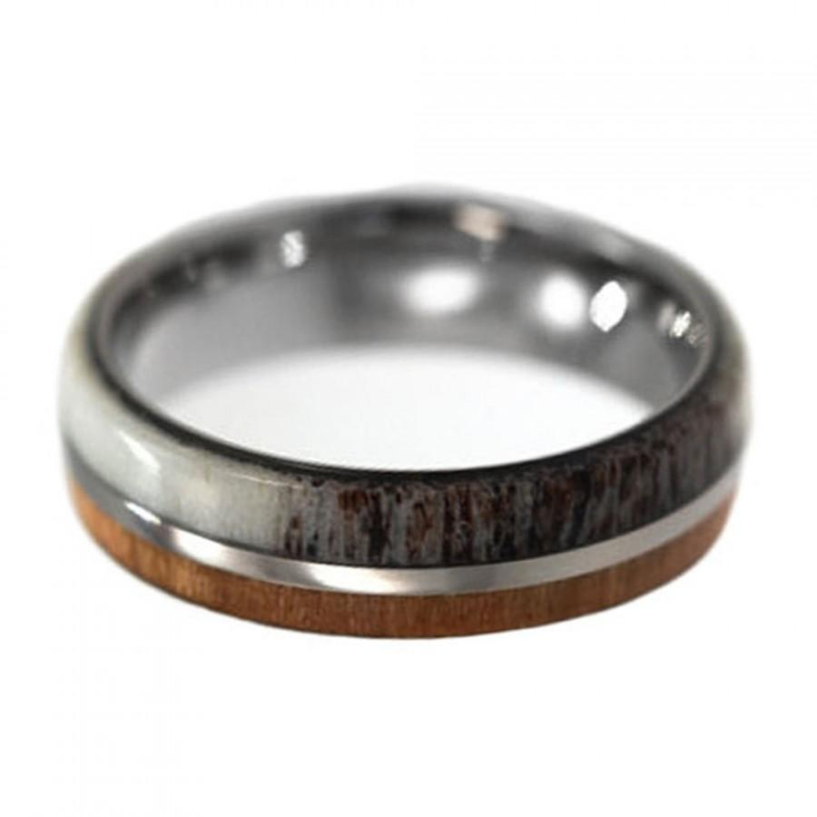 cherry wood and deer antler wedding ring for men titanium band with wood and antler inlay titanium wedding band wedding ring men - Titanium Wedding Rings For Men