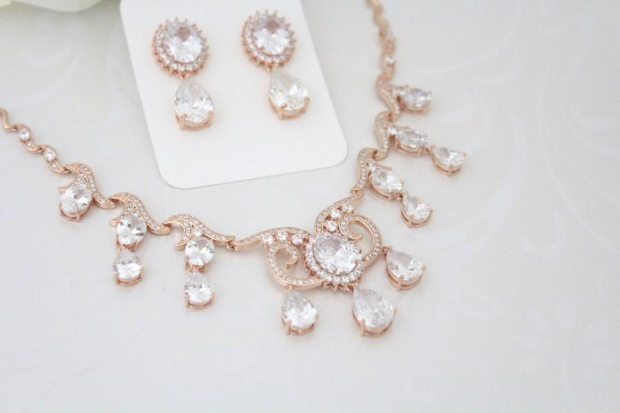 Rose Gold Necklace Earrings Wedding Jewelry Set Crystal Bridal Rhinestone Cz