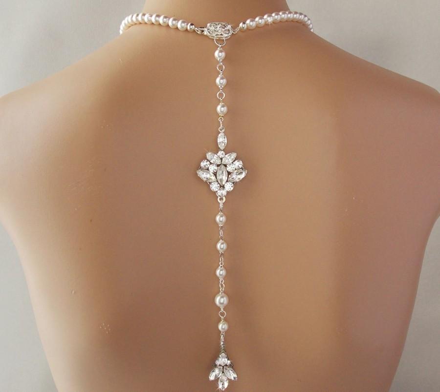 Mariage - Backdrop Necklace - Wedding Necklace, Crystal Necklace, Pearl Necklace, Bridal Necklace, Swarovski Pearls, Statement Necklace - TRISHA