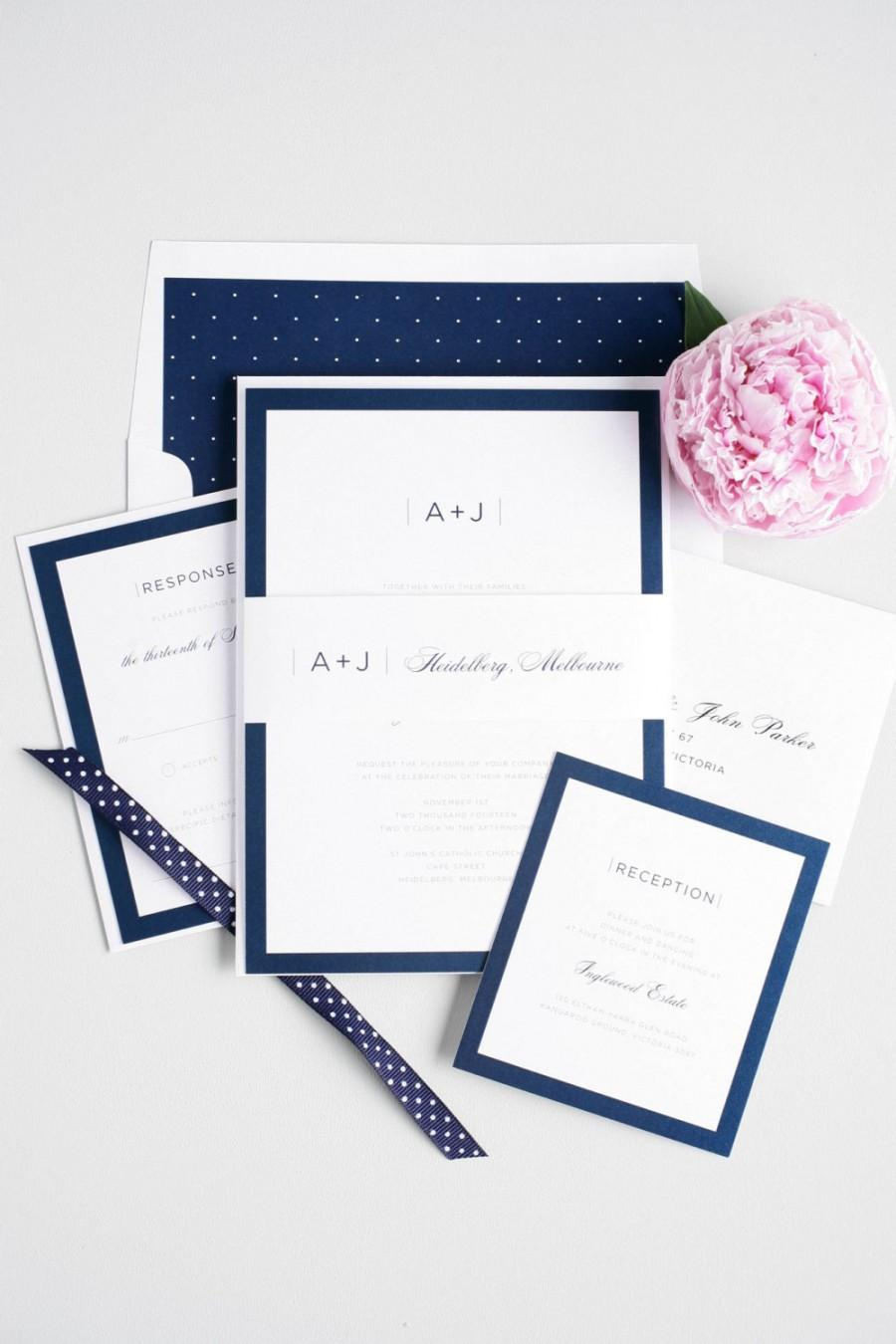 Wedding Invitation, Navy Wedding Invitation, Navy Blue Wedding ...
