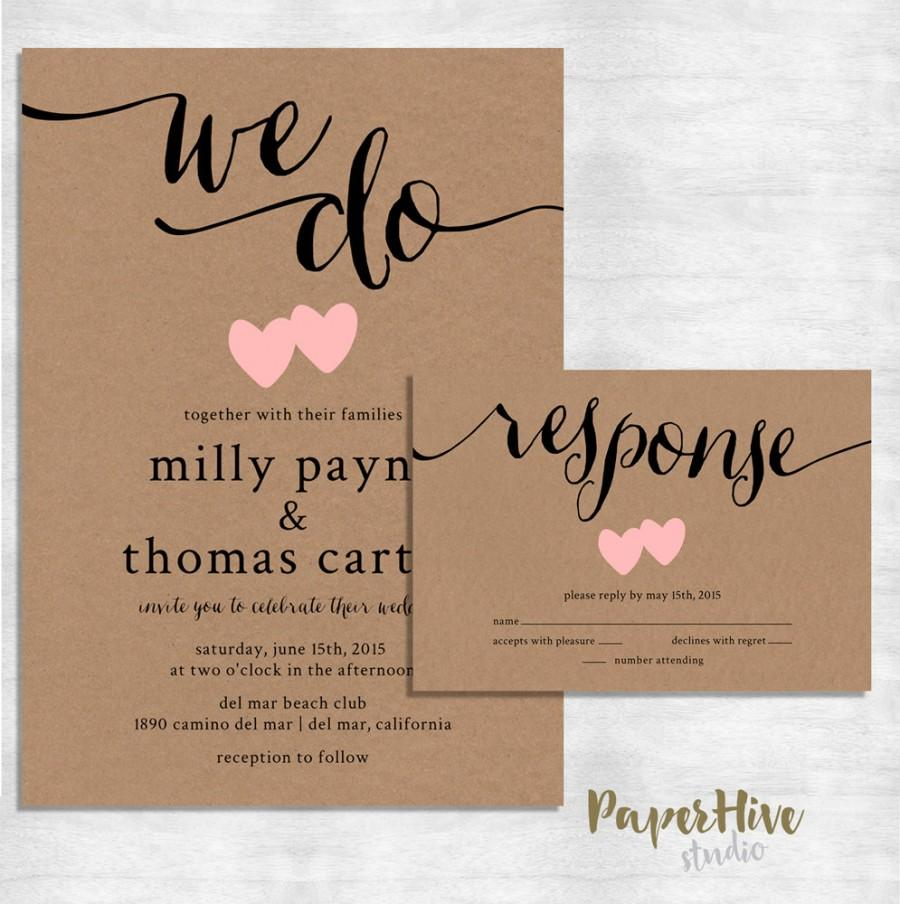 Rustic Wedding Invitation / Kraft Paper Wedding Invite Set / Modern ...
