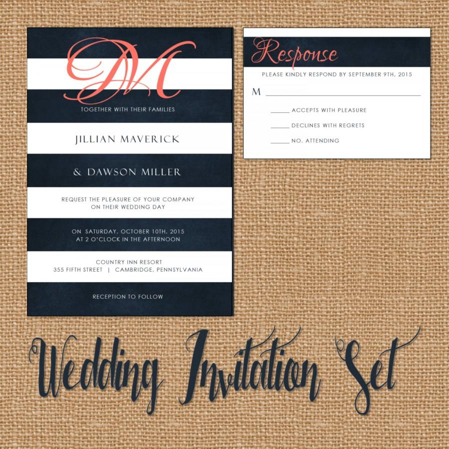 زفاف - Wedding Invitation Suite, Wedding Invitation, Navy and Coral, Monogram, Modern, Navy Blue, White, Stripes
