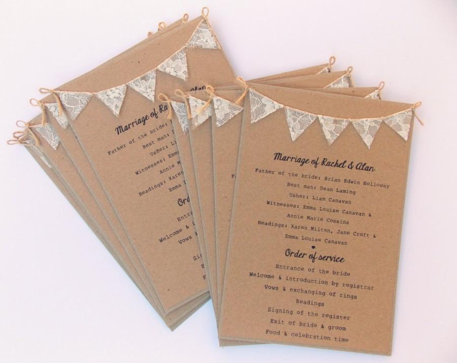 Wedding - Order of Service Cards, Rustic wedding, Kraft card with lace bunting. Wedding Programme Program, Menu Cards