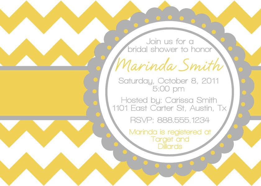Wedding - Chevron Chic Bridal Wedding Shower Invitation Personalized Digital File Bride DIY YOU PRINT Invite yellow grey gray
