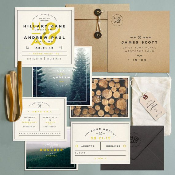 Wedding - Mountain Chic Invitation Set