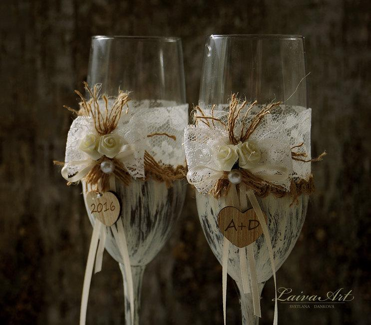 Wedding Champagne Flutes Toasting Gles Rustic Bride And Groom