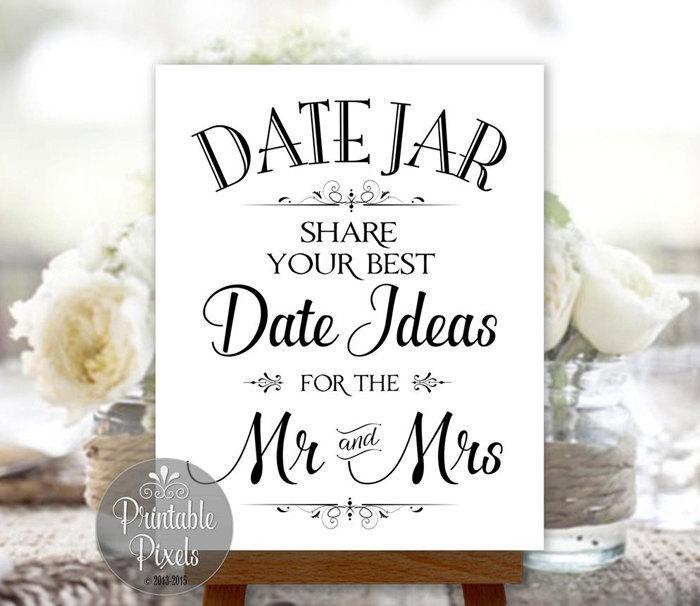 Свадьба - Date Jar Sign Wedding Printable Instant Download (#DAT1B)