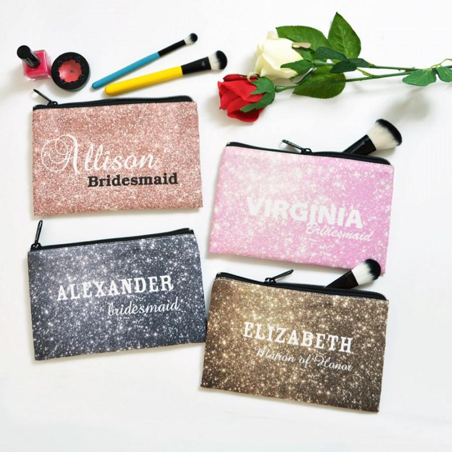 Personalized Cosmetic Bag Bridesmaid Gift Makeup Gold Silver Pink Rose