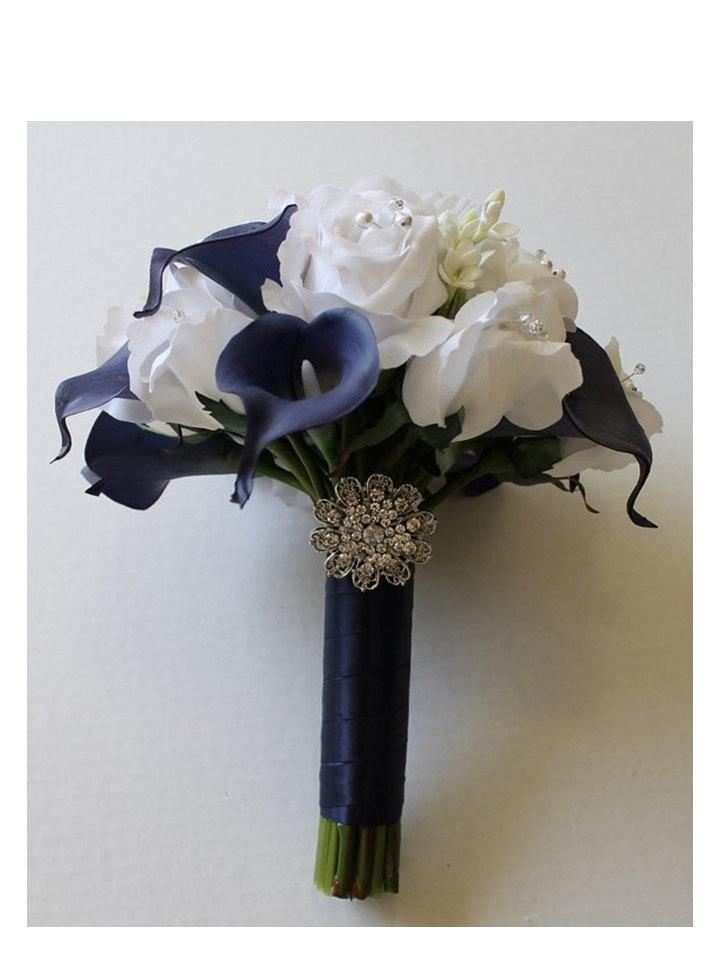 Navy blue wedding bouquet navy blue calla lily bouquet navy blue navy blue wedding bouquet navy blue calla lily bouquet navy blue bouquet real touch calla calla lily bridal bouquet wedding bouquets mightylinksfo