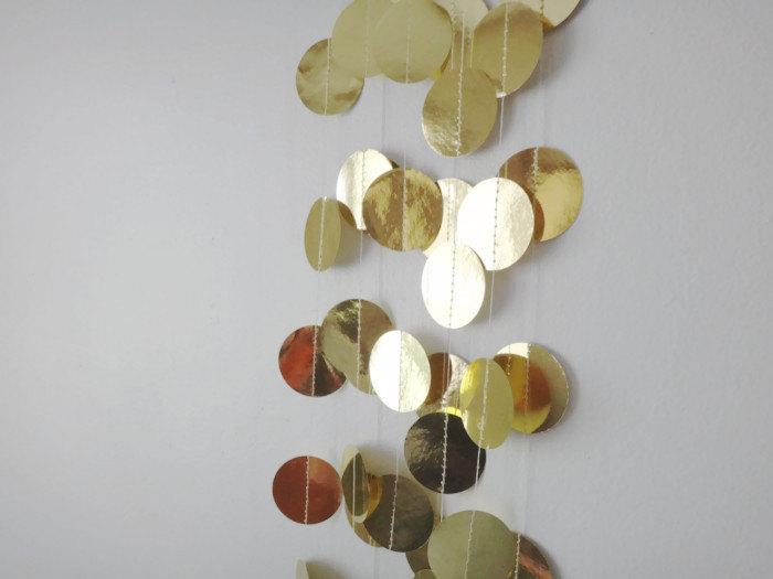 metallic gold garland 8ft shiny gold garland gold wedding garland shimmer gold garland gold party decor shiny gold decorations - Gold Decorations