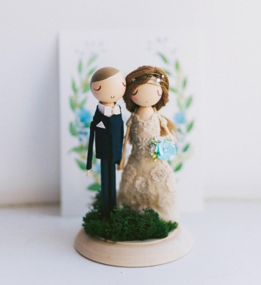 Cake Topper Wooden Dolls
