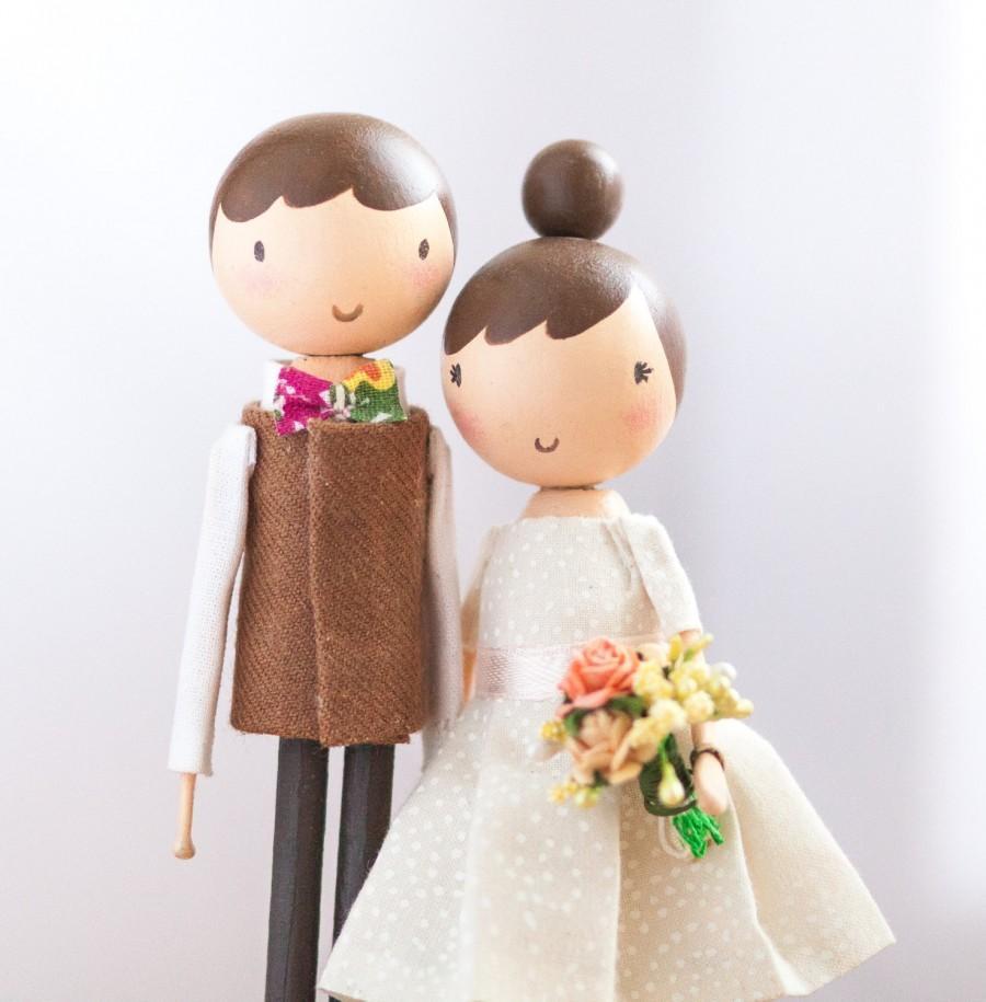 زفاف - READY TO SHIP/Wedding Cake Topper/Cake Topper/Wooden Topper/Wedding Gift/Peg Doll/Wooden Peg Dolls/Boho wedding cake topper