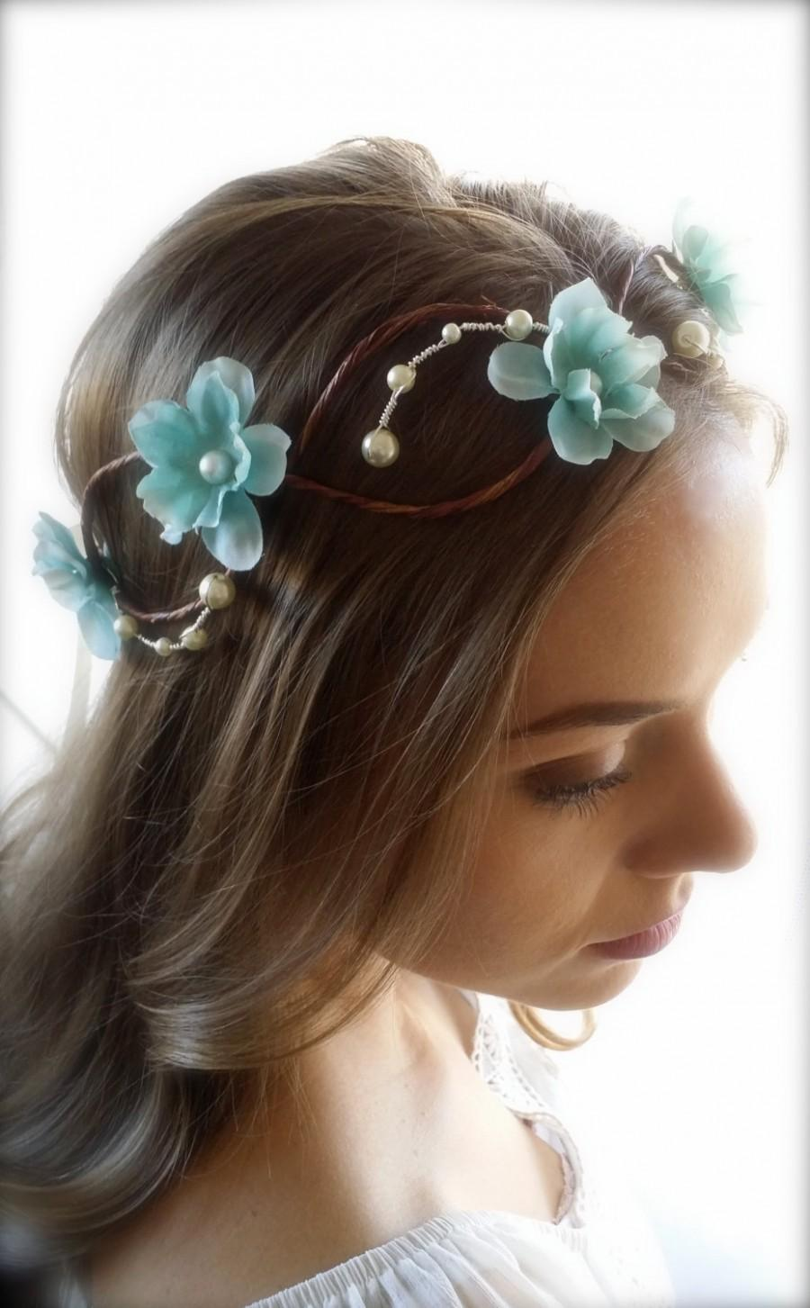Flower hair wreath circlet bridal hair halo light blue flower crown flower hair wreath circlet bridal hair halo light blue flower crown ivory pearls woodland wedding boho chic bride hair circlet izmirmasajfo