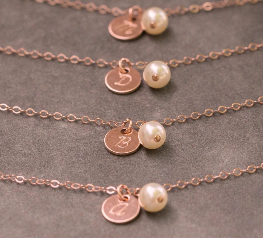 Handstamped Initial Bracelet Rose Gold Pearl Bracelet Personalized