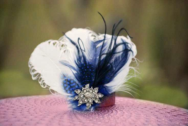 Wedding WHITE or Ivory   Royal Blue   Navy. Fascinator Comb   Hair Clip.  Statement Winter Wedding Bridal Bride Couture. Turquoise Aqua Blue 68c0bac1c47