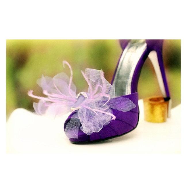 Bow Shoe Clips Amethyst Lavender Purple Ivory White Neon