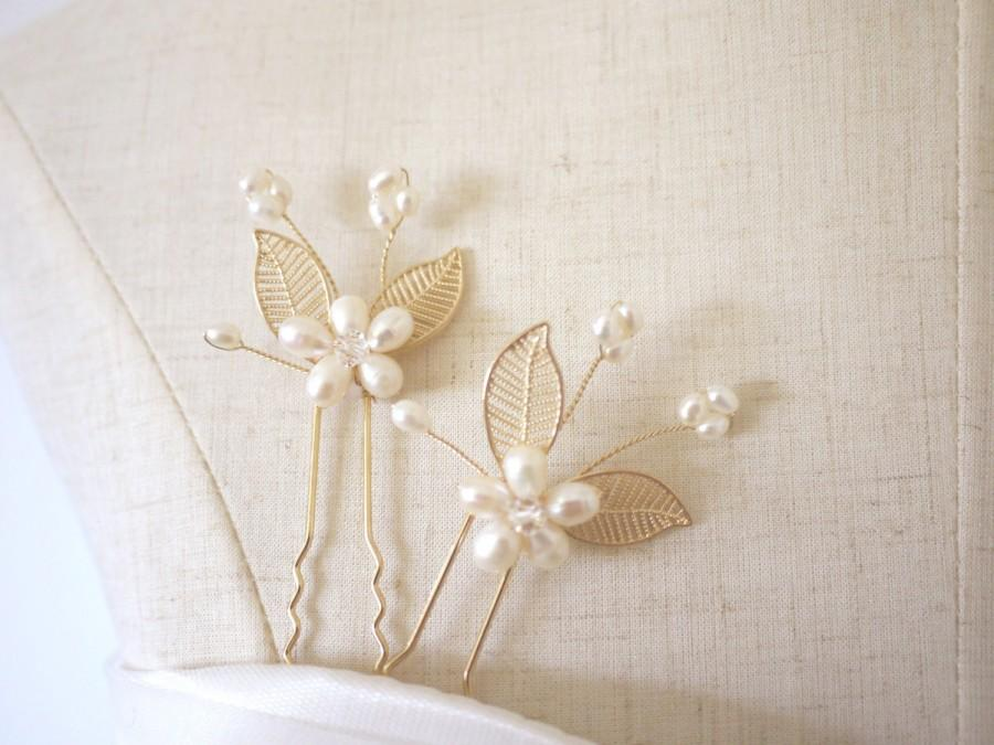 Wedding - Set of 2 Gold Pearl Hair Pins Gold Hair Pins Butterfly Hair Pins Bridal Hairpiece Pearl Hair Pin Gold Leaf Hair Pin Gold Bobby Pin #44