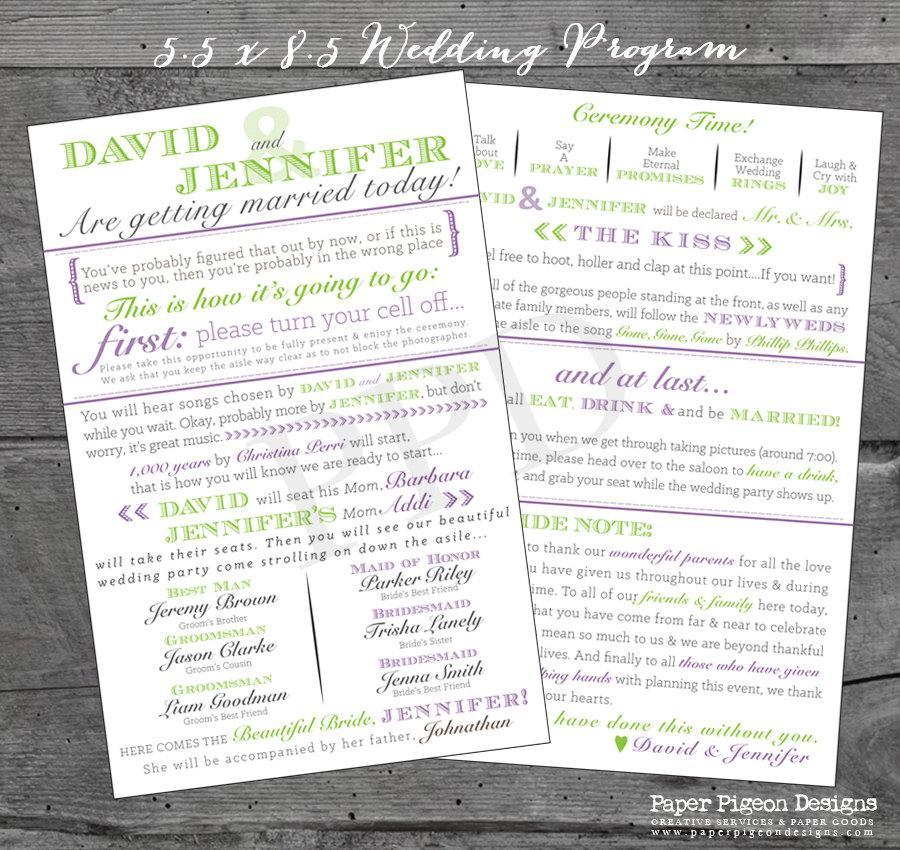 Wedding - Wedding Program, Printable Wedding Program, Typography Wedding Program, Unique DIY Wedding Program, Digital Wedding Program, 5.5 x 8.5 Card
