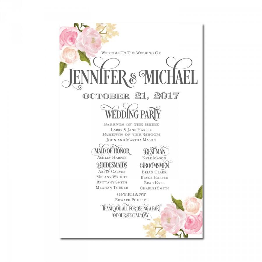 Wedding - Wedding Program Sign - Rustic Wedding - Floral Wedding - Printable Program Sign - Wedding Welcome Sign - Welcome Program Sign
