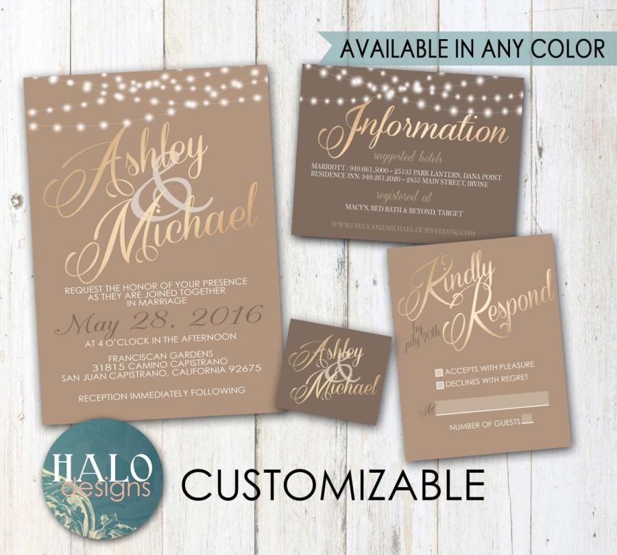 Wedding - Classic Neutral Wedding Invitations - Gold, Invitation, RSVP postcard, Info card, Printable