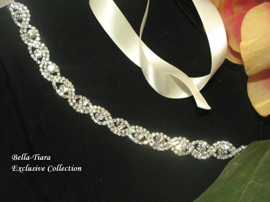 Mariage - rhinestone headband, wedding headpiece, wedding hairpiece, bridal headband, ribbon headband for bride, crystal bridal headband