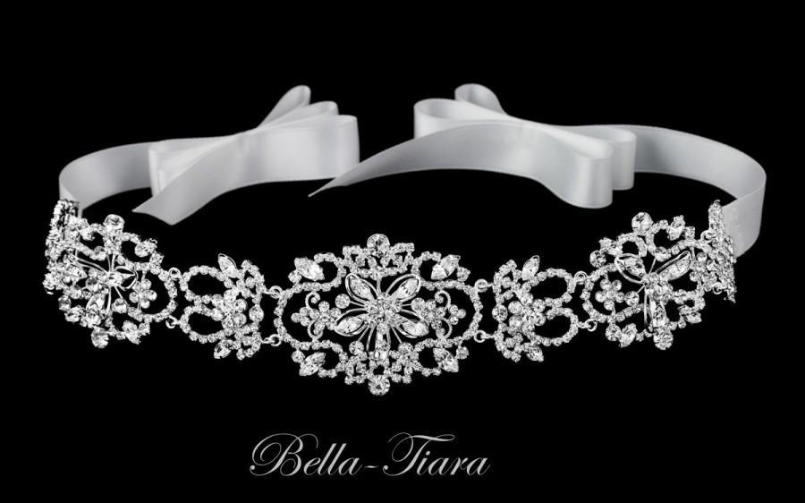 Mariage - vintage wedding headband, ivory ribbon wedding headband, wedding bridal headpiece, ivory crystal rhinestone headband