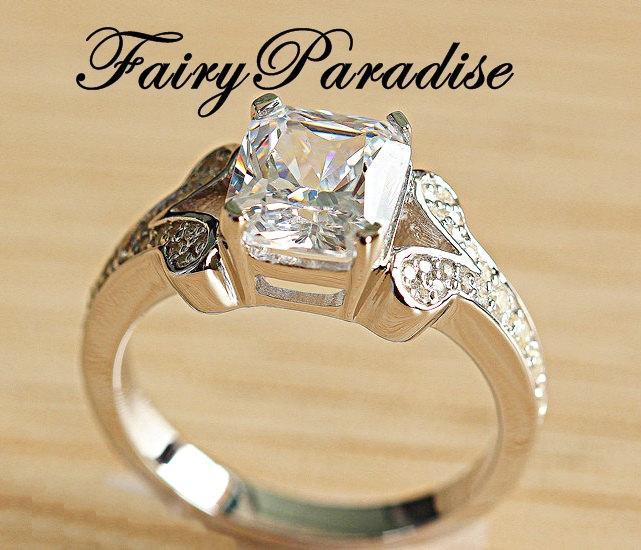Свадьба - 2.5 Ct Radiant Cut ( 7 mm * 8 mm ) Man Made Diamond,  Pave Split Shank Vintage Style Engagement Ring, Wedding Ring, Promise Ring
