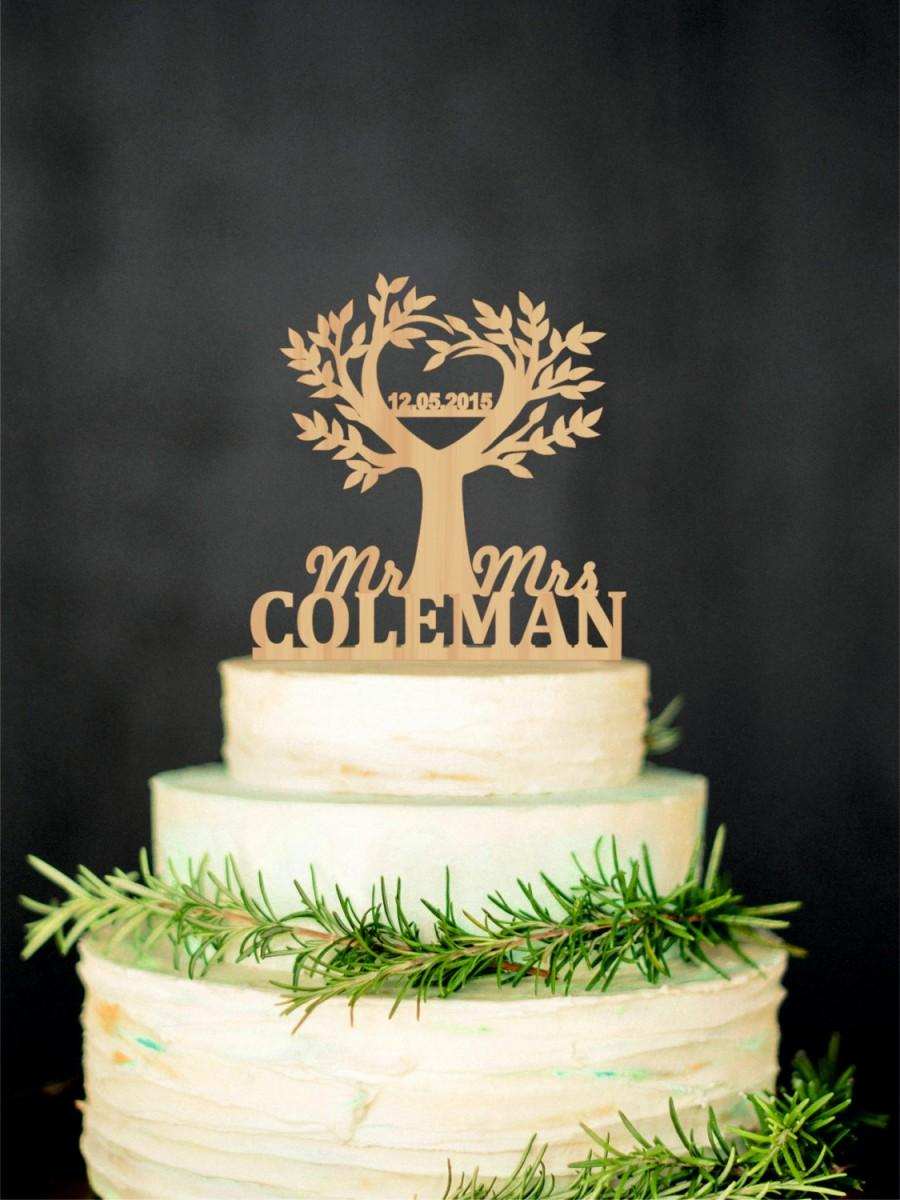 Свадьба - Tree cake topper Wedding Rustic cake topper Wood cake topper Custom cake topper Last Name topper Gold cake topper Silver cake topper