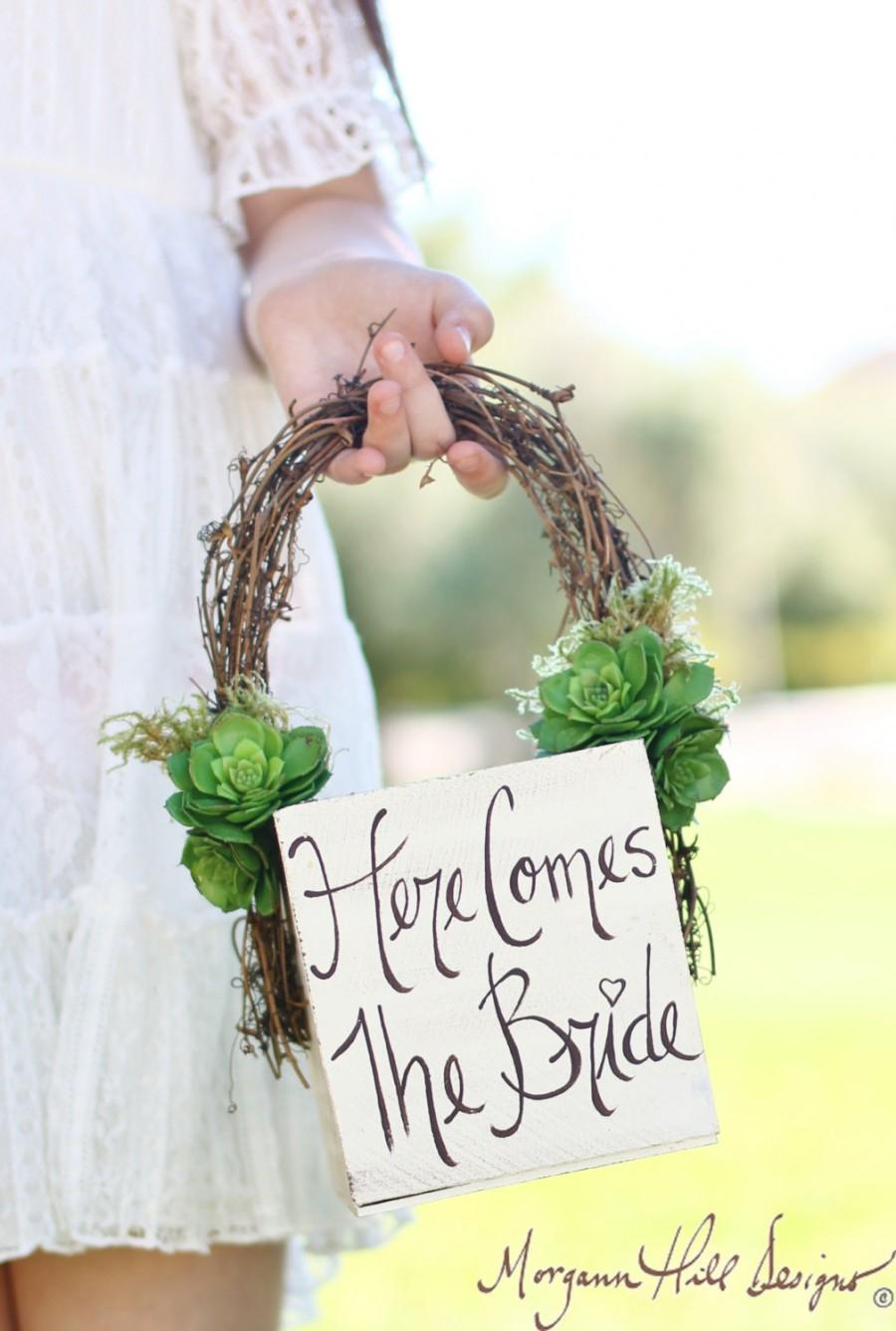 Wedding - Flower Girl Basket Succulents Grapevines Rustic Chic Wedding Here Comes The Bride Sign  (Item Number MMHDSR10011 )