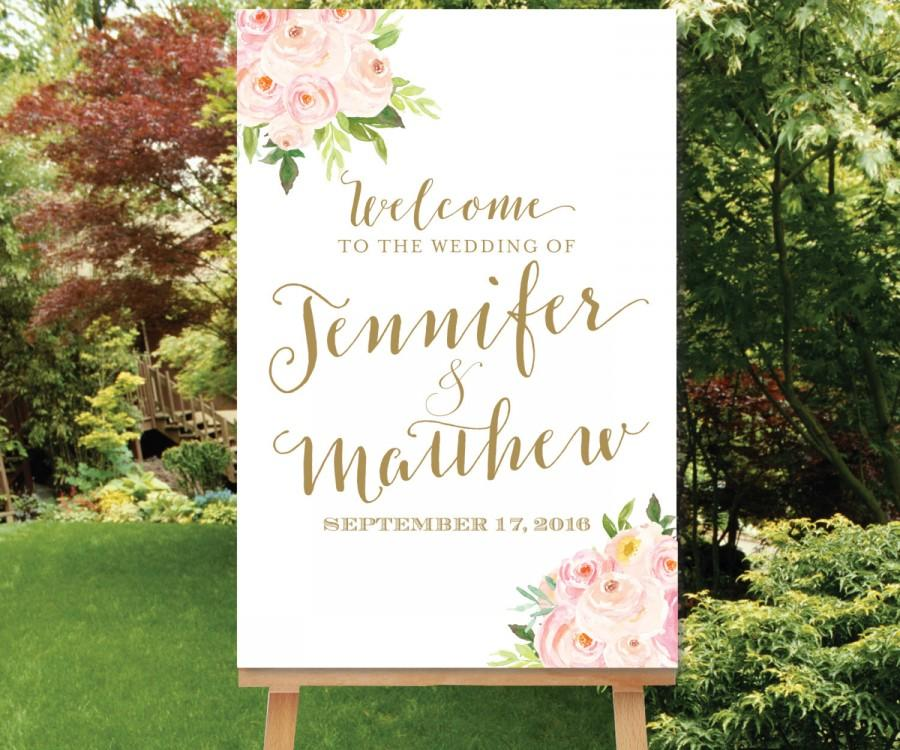 Wedding - Wedding Welcome Sign, Blush Gold, Watercolor Flowers, Floral Welcome Sign, The Bella Collection