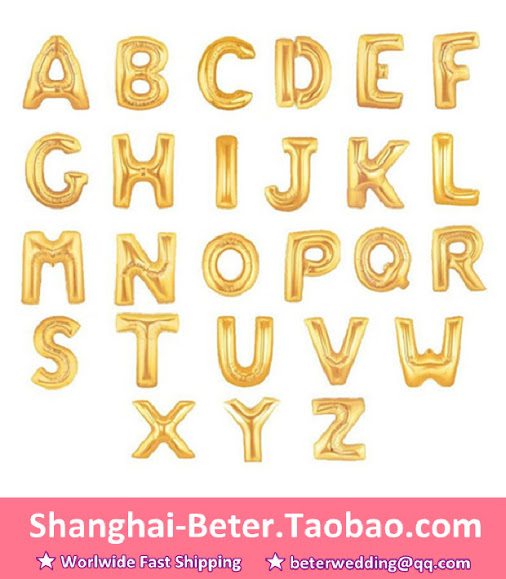 40 gold letter alphabet balloons wedding party decoration for Letter t decoration