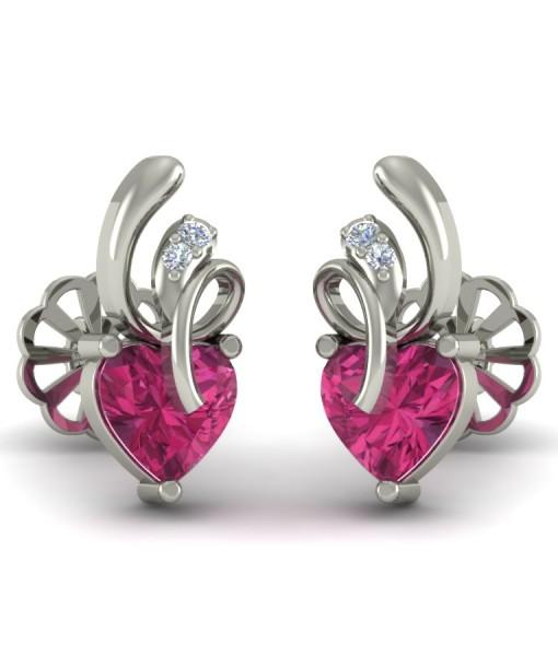 Свадьба - The Pink Heart Silver Jewellery Earrings